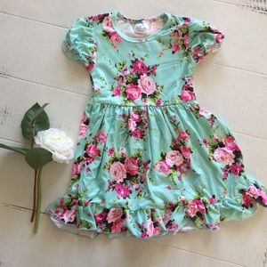 Other - FINAL SALE Pink Floral Mint Ruffle Dress